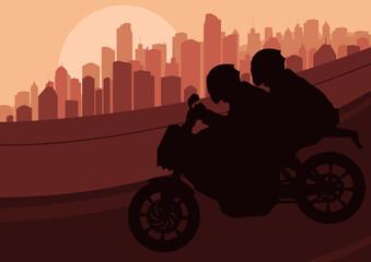 Sport motorbike riders silhouettes in skyscraper city