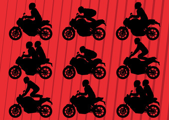 Sport motorbikes silhouettes illustration collection background