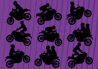 Sport motorbike riders silhouettes in urban city landscape