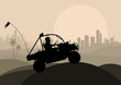 All terrain vehicle rider in desert skyscraper city landscape