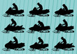 Snowmobile motorbike silhouettes illustration collection