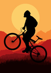 Mountain bike rider in wild nature landscape