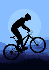 Mountain bike rider vector