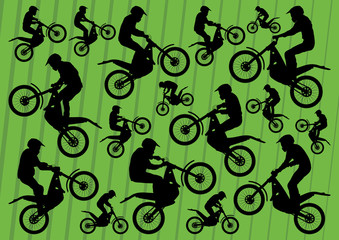 Motocross motorbikes illustration collection background