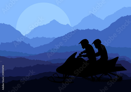 Snowmobile riders in wild nature landscape background