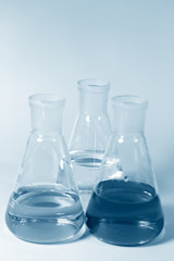 Three conical chemical glassware