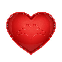 red leather pillow as heart vector illustration isolated