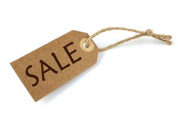 Natural paper sale label  on white background.