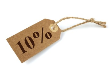 10% Sale label with natural paper and string
