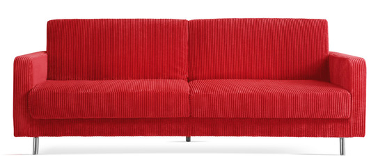 red cutout couch