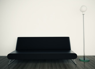 modern couch on wall