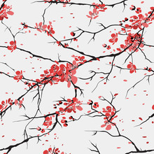 cherry or sakura seamless pattern background