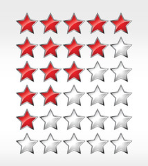 Five stars ratings web 2.0 button. Red and gray shapes on white