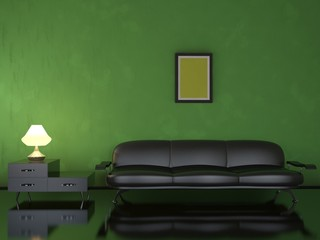 Interior with a leather sofa