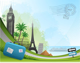 Fototapety Postal card travel concept background