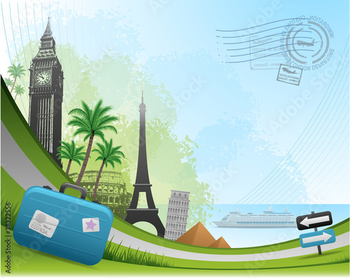 Postal card travel concept background