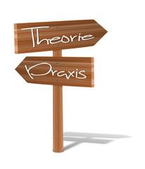 Holzschild Theorie-Praxis