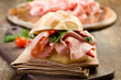 Sandwich with Mortadella and red peppers