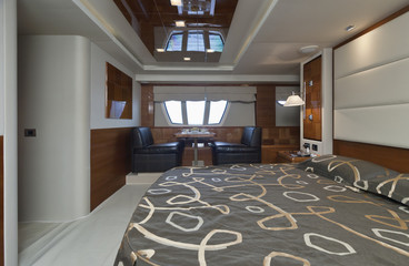 Italy, luxury yacht Azimut 75', master bedroom