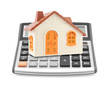 Small orange toy house on calculator