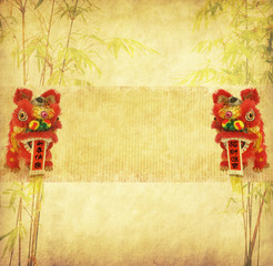 chinese bamboo with traditional dancing lion