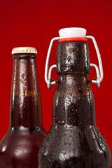 brown beer bottles