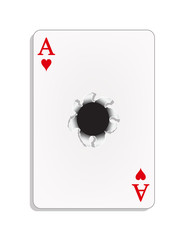 Ace of heart with a bullet hole