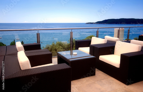Beautiful terrace view in luxury resort