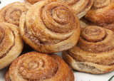 Buns with cinnamon, close-up