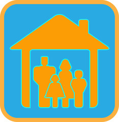 bright sign big worm family with house and family silhouette