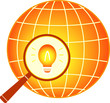 electrical icon with earth and bulb in magnifier silhouette