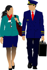 Flight crew. Cheerful pilot and stewardess with trolley, isolate