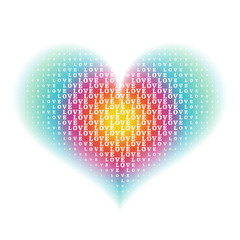 """love"" word characters on gradient rainbow heart shape backgroun"