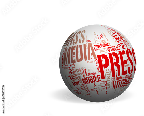 Mass Media concepts over a white sphere - Whitespace background