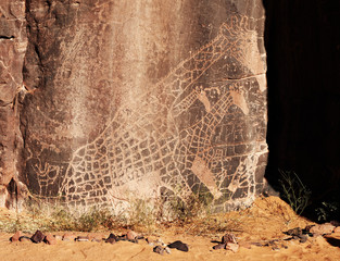 Rock engraving in Sahara Desert, Algeria