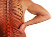Leinwanddruck Bild - Schmerzender Rücken mit Wirbelsäule