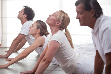 Group of people practising yoga