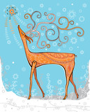 beautiful deer on a winter background