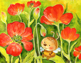 hand painted illustration: Bee and poppies