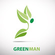 Logo green man flying # Vector