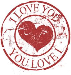 Grunge Valentine Rubber Stamp