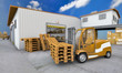3d illustration of loader with pallet on warehouse background