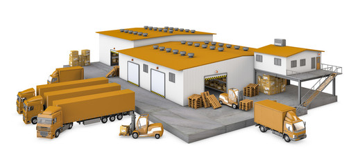3d illustration of infrastructure warehouse on white background