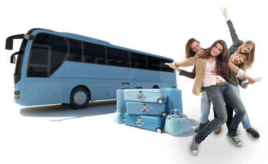 Girls traveling by coach