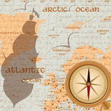 Vintage travel background with antique compass poster