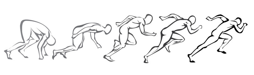 sprint concept. set of symbols running man