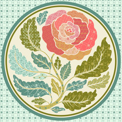 Patch application of a rose in round frame