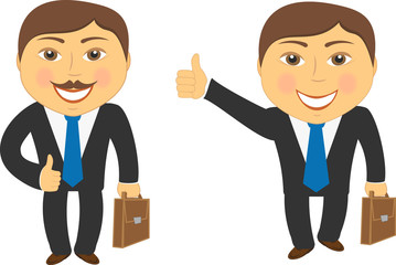 successful businessman with portfolio and showing thumb up