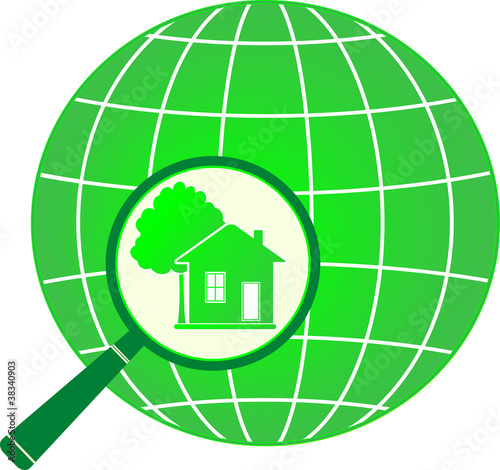eco symbol planet with house and tree in magnifier