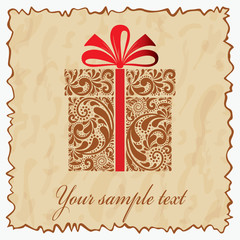 Vintage postcard with gift box. Vector illustration eps.10.